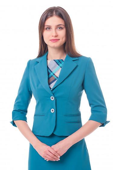 Жакет бирюзовый с разрезом на рукаве Деловая женская одежда фото