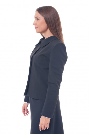 Купить черный жакет с закрытой планкой Деловая женская одежда фото