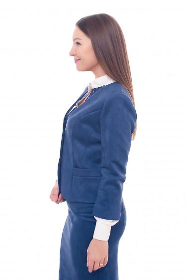 Купить синий замшевый жакет Деловая женская одежда фото