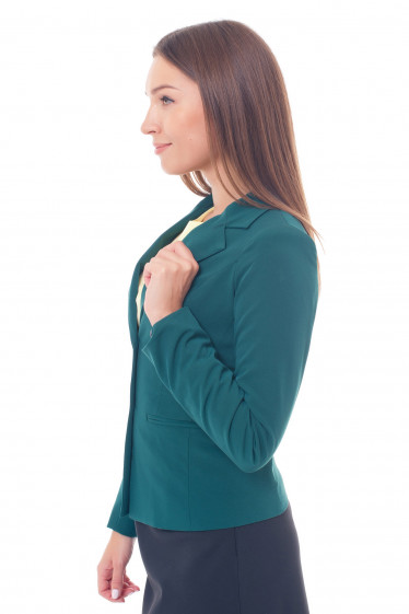 Купить зеленый жакет на двух пуговицах Деловая женская одежда фото