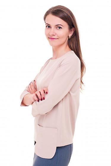 Купить блузку бежевую с накладными карманами Деловая женская одежда фото