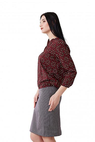 Купить бордовую блузку в бежевый ромбик Деловая женская одежда фото