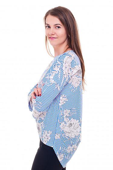 Купить блузку полосатую в цветы с удлиненной спинкой Деловая женская одежда фото