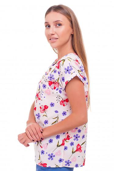 Купить блузку розовую в красные цветы Деловая женская одежда фото