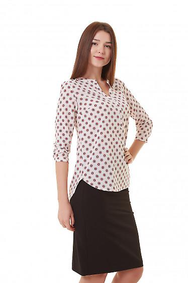 Купить блузку розовую в серый кружок Деловая женская одежда фото