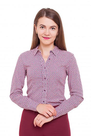 Блузка в бордовый узор Деловая женская одежда фото