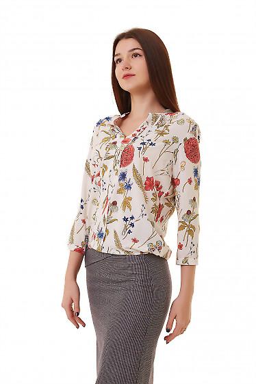 Купить блузку в крупные маки с резинкой сбоку Деловая женская одежда фото