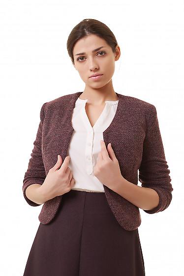 Болеро теплое из бордового трикотажа Деловая женская одежда фото