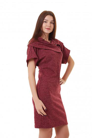 Купить бордовое платье с молнией на воротнике Деловая женская одежда фото