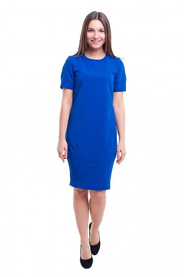Купить платье-футляр синее с защипами на юбке Деловая женская одежда фото