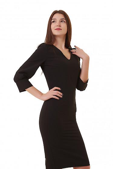 Купить платье черное с широкой манжетой Деловая женская одежда фото