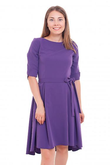 Платье фиолетовое с неровным низом Деловая женская одежда фото