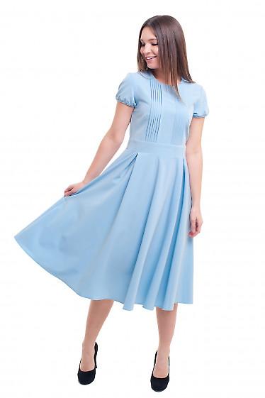 Купить платье голубое со складочками на груди Деловая женская одежда фото
