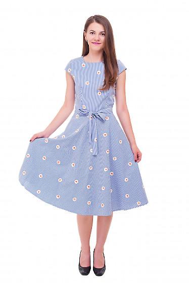 Купить платье полосатое с желтым вышитым цветком Деловая женская одежда фото
