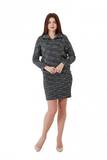 Купить теплое серое платье с юбкой мини Деловая женская одежда фото