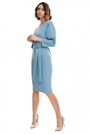 Купить платье серое с рукавом летучая мышь. Деловая женская одежда фото