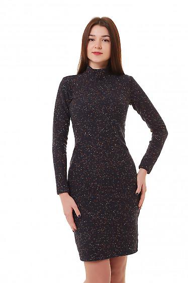Купить платье синее шерстяное с точками Деловая женская одежда фото
