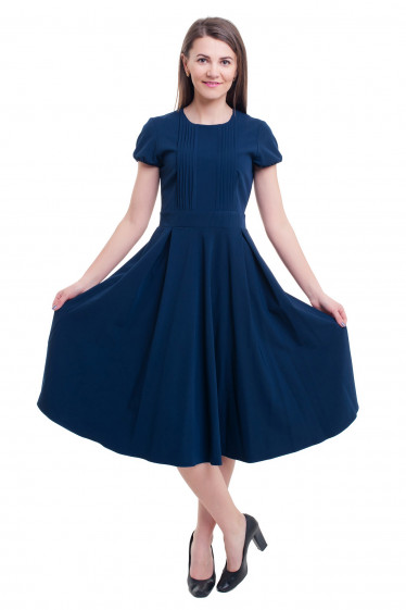 Купить платье синее со складочками на груди Деловая женская одежда фото