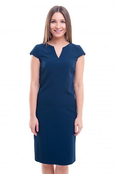 Платье синее со строчкой впереди Деловая женская одежда фото