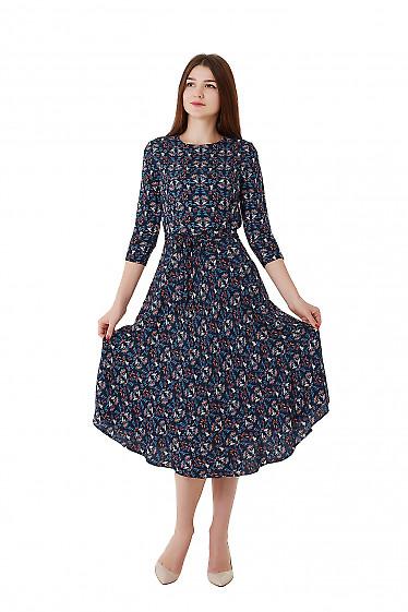 Платье синее в цветок из зимнего штапеля. Деловая женская одежда фото