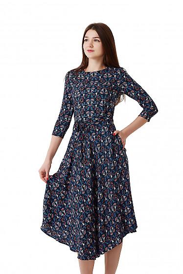 Купить платье синее в цветок из зимнего штапеля. Деловая женская одежда фото