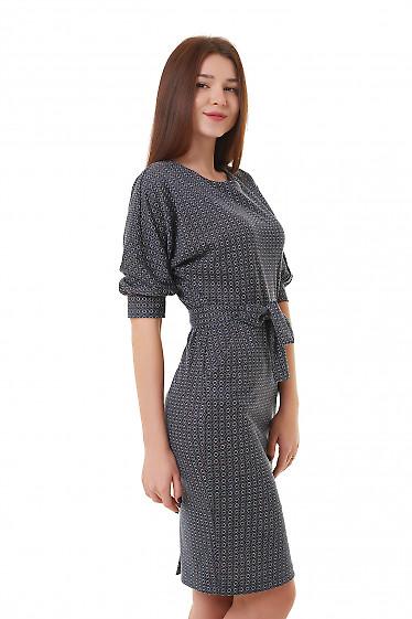 Теплое трикотажное платье с широким рукавом Деловая женская одежда фото