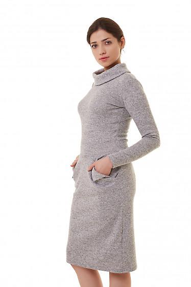 Купить теплое серое платье из ангоры Деловая женская одежда фото