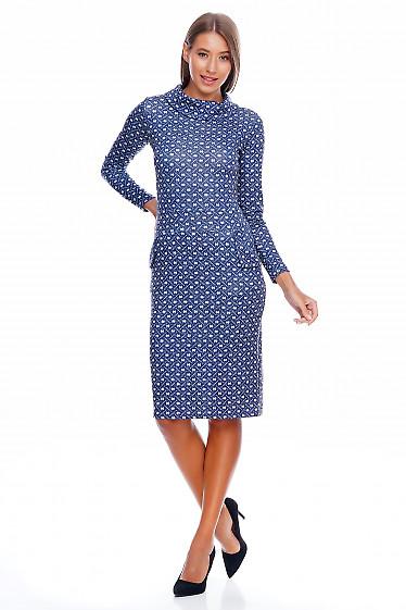Платье трикотажное синее в кружочек Деловая женская одежда фото