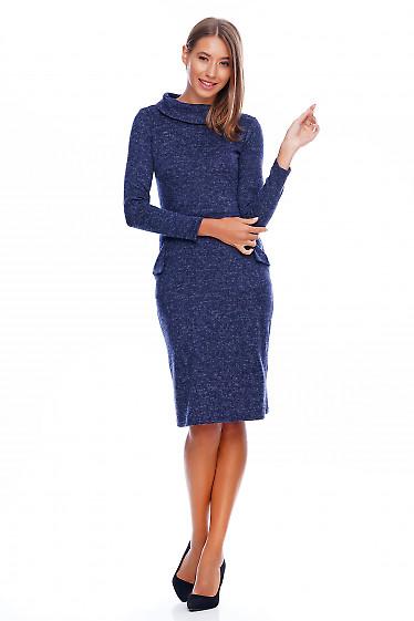 Платье трикотажное теплое синее Деловая женская одежда фото