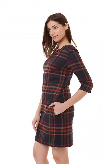 Купить платье тёплое серое в оранжевую клетку Деловая женская одежда фото