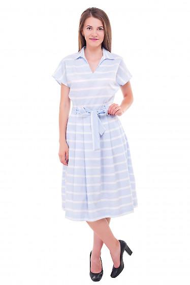 Купить платье в голубую полоску с белыми вставками Деловая женская одежда фото