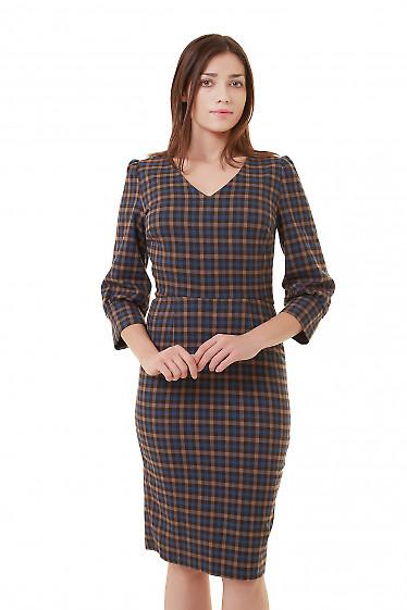 Платье в клетку с широкой манжетой Деловая женская одежда фото