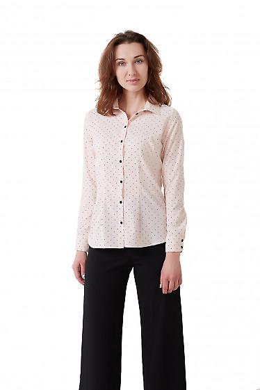 Рубашка женская розовая в сердечки. Деловая женская одежда фото
