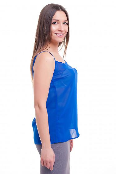 Купить топ синий на тонких бретелях Деловая женская одежда фото