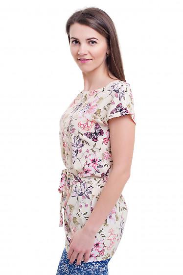 Купить тунику в цветы с поясом Деловая женская одежда фото