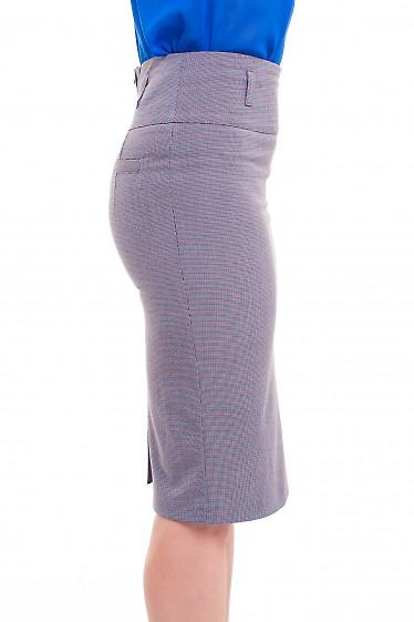 Купить юбку-карандаш в лапку синюю Деловая женская одежда фото