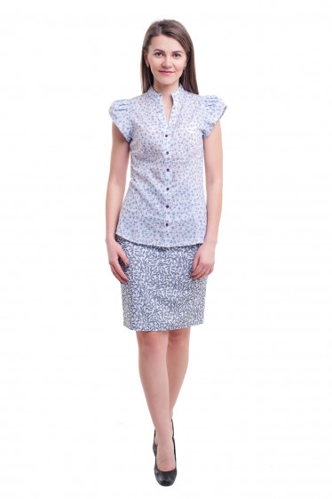 Купить юбку белую в серый листок Деловая женская одежда фото