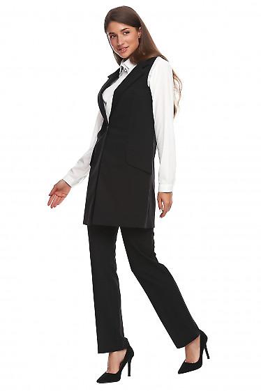 Купить жилет чёрный женский длинный. Деловая женская одежда фото