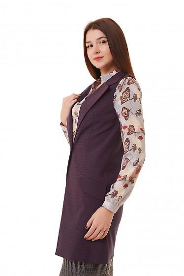 Купить жилетка женская длинная в клетку Деловая женская одежда фото