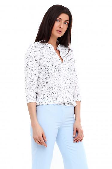 Купить блузку белую в синий листик. Деловая женская одежда фото