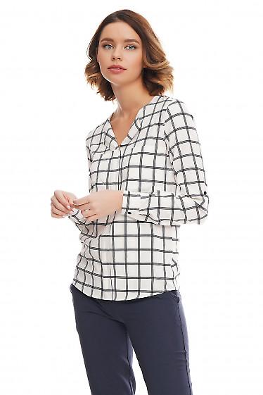 Купить блузку белую в синюю крупную клетку Деловая женская одежда фото