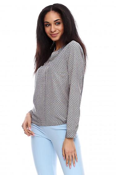 Купить блузку бежевую в голубые ромбики Деловая женская одежда фото
