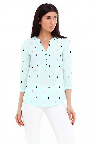 Купить блузку бирюзовую в капельки. Деловая женская одежда фото