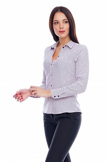 Блузка бледно-розовая в мелкий синий цветочек Деловая женская одежда фото