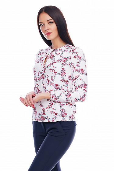 Блузка на завязочках в красные цветочки Деловая женская одежда фото