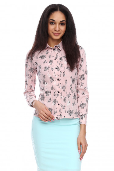 Блузка розовая в черно-белые цветы Деловая женская одежда фото