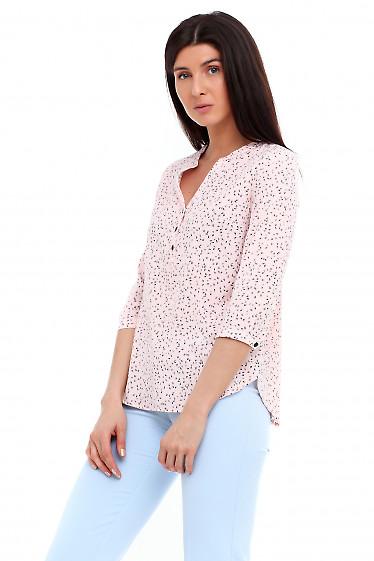 Купить блузку розовую в синий листик. Деловая женская одежда фото