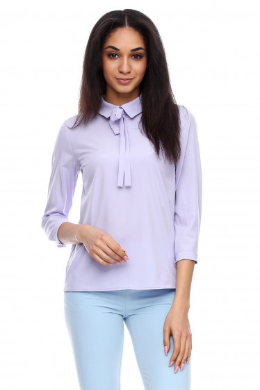 Блузка с завязками фиолетовая Деловая женская одежда фото