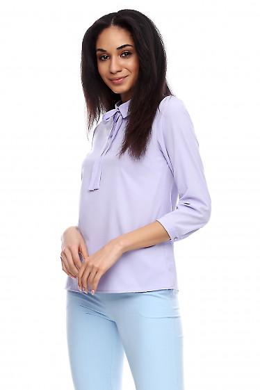 Купить блузку с завязками фиолетовую Деловая женская одежда фото