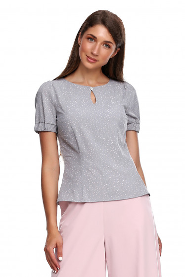 Блузка серая в розовый горох. Деловая женская одежда фото